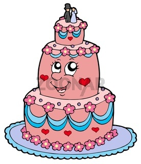 Cartoon wedding cake - isolated illustration.