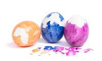 Painted eggs, pealed easter egg