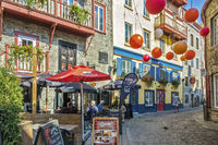 Coloured Decorations On The Street, Quebec City, Canada