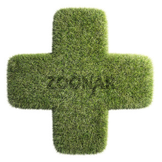 A patch of grass shaped like a cross - health symbol
