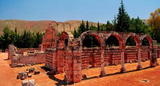 Ruins of ancient city Anjar, Bekaa valley Lebanon