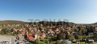 Häuser in Wernigerode als Panorama mit Himmel