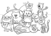 cats group cartoon illustration color book