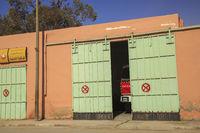 Tinghir, Morocco - February 27, 2016: Fire-brigade garage door opening