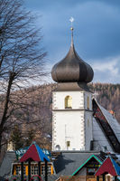 White tower of church in Karpacz