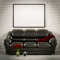 living white room with leather sofa 3d illustration