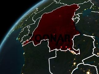 Night over Democratic Republic of Congo