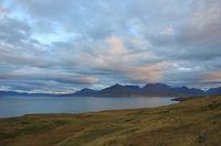 Eyjafjoerdur and mountains. Landscape near Dalvik, Iceland.