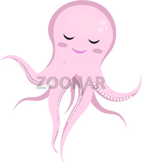 Cute octopus horse icon, flat, cartoon style. Isolated on white background. Vector illustration.
