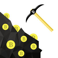 Golden Bitcoin Symbol. Crypto Currency Mining with Coins and Pickaxes