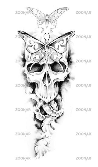 Foto Sketch Of Tattoo Art Skull Bild 2064119