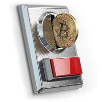 Pay by bitcoin concept. BItcoin coin and coin acceptor isolated on white.