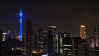 Kuala Lumpur night cityscape with Menara KL Tower