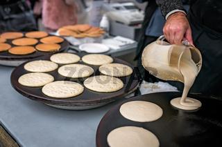 Preparing delicious pancakes