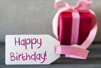 Pink Gift, Label, Text Happy Birthday