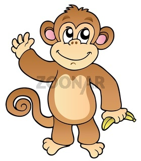 Cartoon waving monkey with banana - isolated illustration.
