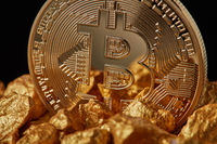 Closeup of gold nugget and Gold Bitcoin Coin on black background.