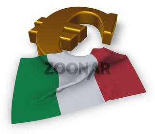 eurosymbol und italienische flagge - 3d rendering