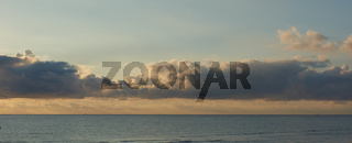 Beautiful sunrise above the Mediterranean Sea. Cloudy sky, tranquil Sea. Spain