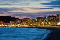 Lloret de Mar Town at Twilight in Spain
