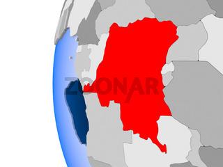 Map of Democratic Republic of Congo on political globe