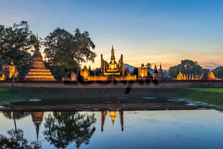sunset at Sukothai Historical Park - Thailand