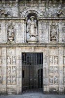 entrance facade in landmark cathedral of santiago de compostela spain