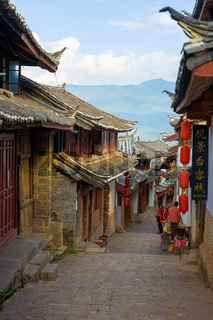 Lijiang Old Town Downhill Alley Traditional Houses