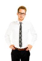 Half length portrait of a smart young businessman