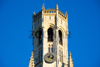 Detail of the Bruges Belfry in the city centre in Bruges, Belgium.