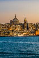 Sunset view of Valletta, the capital of Malta