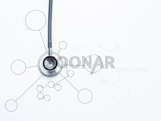 Medical stethoscope on white background.