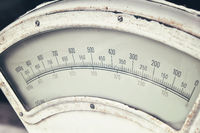 Old vintage weight scales close up