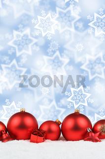 Weihnachten rot Weihnachtskugeln Hintergrund Dekoration hochkant Sterne Schnee Textfreiraum