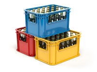 Crates full of beer bottles isolated on white background