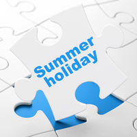 Travel concept: Summer Holiday on puzzle background