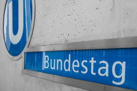 The sign of the underground, subway train station of the Bundestag (house of parliament)  in Berlin