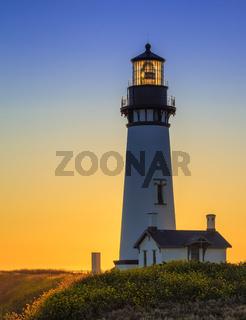 Yaquina Head Lighthouse at Sunset, Oregon, USA