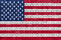 flag of USA painted on brick wall