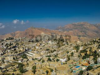 Aerial view to Hajjah city and Haraz mountain Yemen