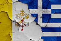 flag of Vatican and Greece painted on cracked wall