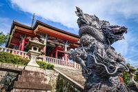 Dragon statue in front of the kiyomizu-dera temple, Kyoto, Japan