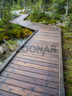 Wooden boardwalk at Morraine Lake, Banff National Park