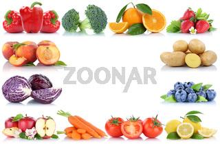 Obst und Gemüse Früchte Rahmen Textfreiraum Copyspace Apfel Orange Beeren