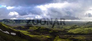 Landscape of Lakagigar volcanic valley, central Iceland