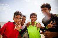 Indian Children Playing on a Beach