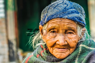 Old wrinkled face in Nepal