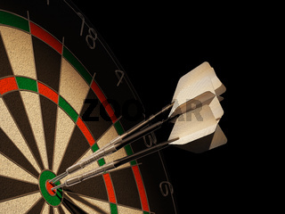 Dartboard with three darts in center target.