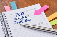 Daily planner with the entry New Years Resolutions 2018