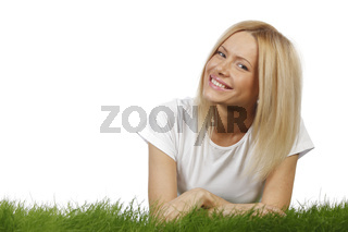 Smiling woman on grass